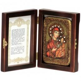 """Настольная икона """"Образ Божией Матери Иверская"""" на мореном дубе"""
