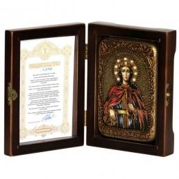 """Настольная икона """"Святая Великомученица Екатерина"""" на мореном дубе"""