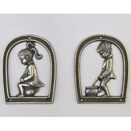 """Дверные таблички Alberti Livio """"Уборная"""" (античная бронза) h.10см"""