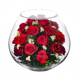 """Цветочная композиция из живых цветов """"Аквариум Роз"""", h=27,5 см, d=30 см"""