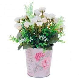 """Искусственный цветок в кашпо """"Белая роза"""""""
