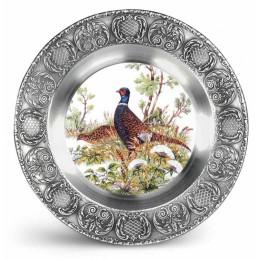 "Декоративная настенная тарелка из олова и керамики ""Fasan"" d23см"
