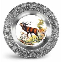 """Декоративная настенная тарелка из олова и керамики """"Hirsch"""" d23см"""