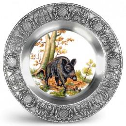 """Декоративная настенная тарелка из олова и керамики """"Wildschwein"""" d23см"""