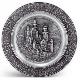 """Декоративная настенная тарелка из олова """"Neuschwanstein"""" d23см"""