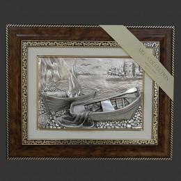 """Панно художественное (барельеф) Arte Casa """"Парус, лодки и сеть"""" 48х39см"""
