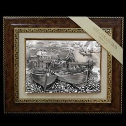 """Панно художественное (барельеф) Arte Casa """"Рыбацкая сеть и лодки"""" 48х39см"""