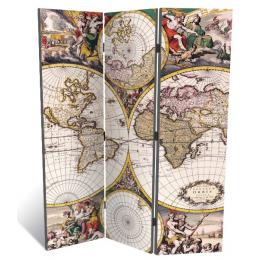 """Декоративная 3-х створчатая ширма """"Карта древнего мира"""", дл.135см"""