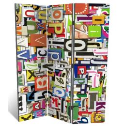 """Декоративная 3-х створчатая ширма """"Коллаж из букв"""", дл.135см"""