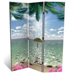 """Декоративная 3-х створчатая ширма """"Райский остров"""", дл.135см"""