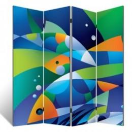 "Декоративная 4-х створчатая ширма ""Абстрактные рыбки"", дл.180см"
