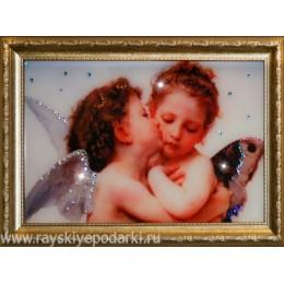 """Картина из кристаллов Swarovski """"Поцелуй Валентина"""""""