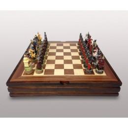 """Оригинальные шахматы """"Русско-монгольское сражение"""" 36х36см"""