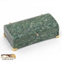 """Шкатулка из натурального камня с овальной крышкой """"Купюра"""" дл.18см"""