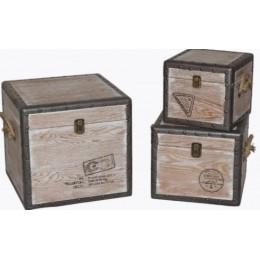 """Набор деревянных сундуков из 3-х штук """"Post Stamps"""""""