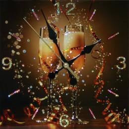 """Декоративные часы с кристаллами Swarovski """"Брызги шампанского"""""""