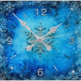 """Декоративные часы с кристаллами Swarovski """"Зимний узор"""""""