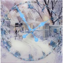 """Декоративные часы с кристаллами Swarovski """"Зимняя дорога"""""""