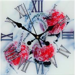 "Декоративные часы с кристаллами Swarovski ""Зимняя вишня"""