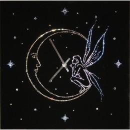 "Настенные часы с кристаллами Swarovski ""Ангел на луне"""
