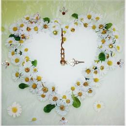 """Настенные часы с кристаллами Swarovski """"Ромашки"""""""