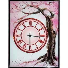 """Настенные часы с кристаллами Swarovski """"Сакура"""""""