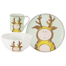 Набор из 3-х предметов Оленёнок: кружка, тарелка, миска