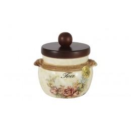 Банка для сыпучих продуктов с деревянной крышкой (чай) Элианто
