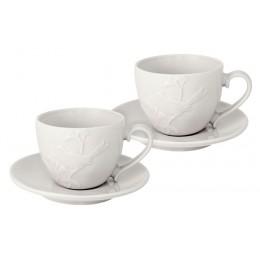 Набор: 2 чашки + 2 блюдца Птицы (кремовая)