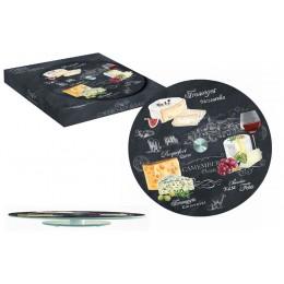 Блюдо стеклянное для сыра (вращающееся) Мир сыров